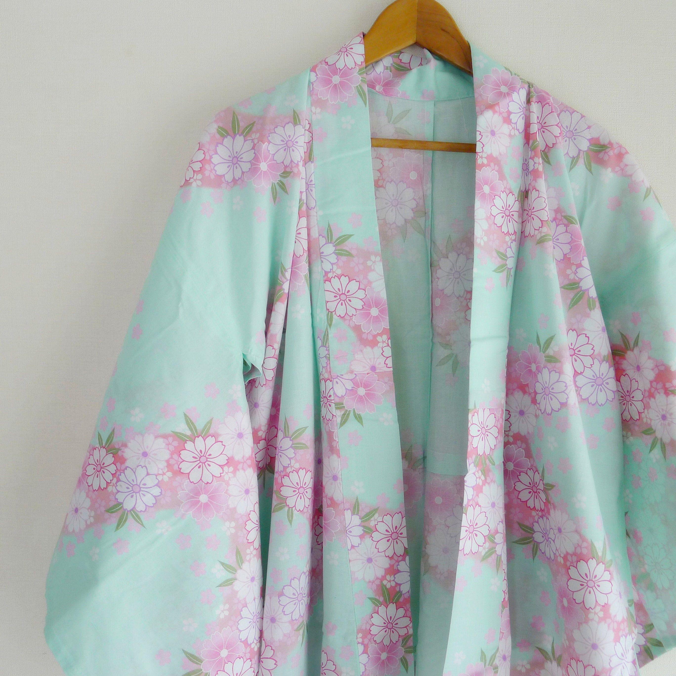 Sakura floral Yukata, cute japanese cotton kimono for