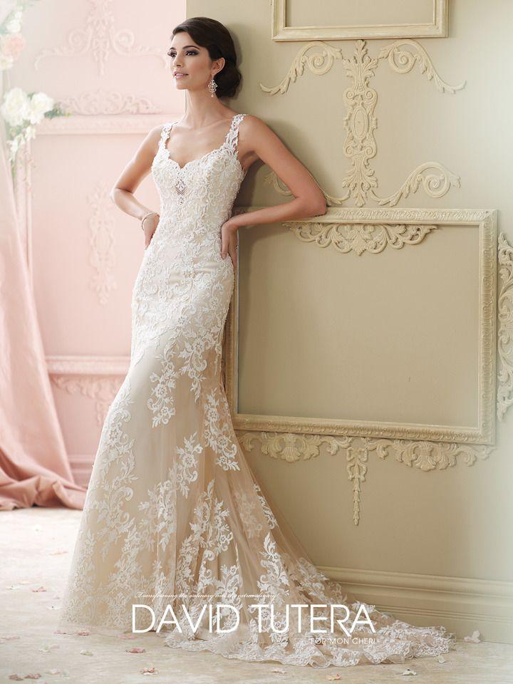 41945cf350e Vintage Lace Plunging Neckline A-Line Wedding Dress- 215278 Florine ...