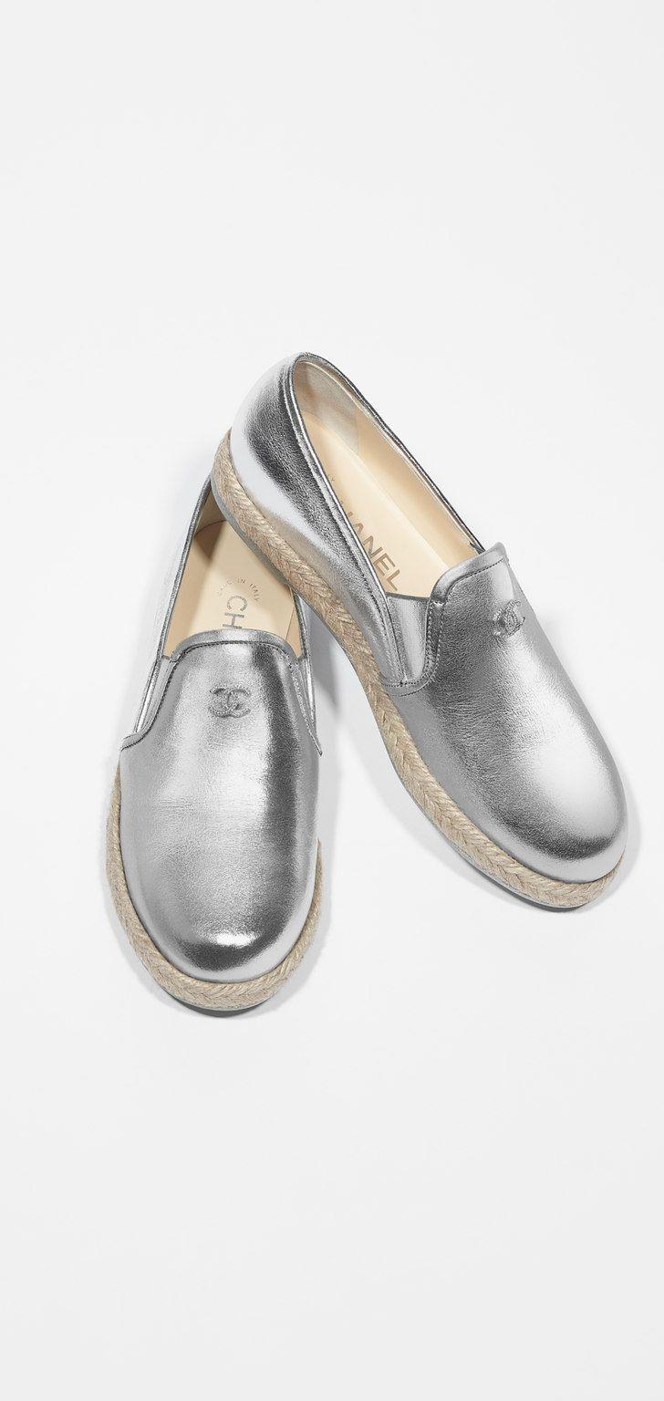 ec39593f34 Chanel loafers lambskin silver