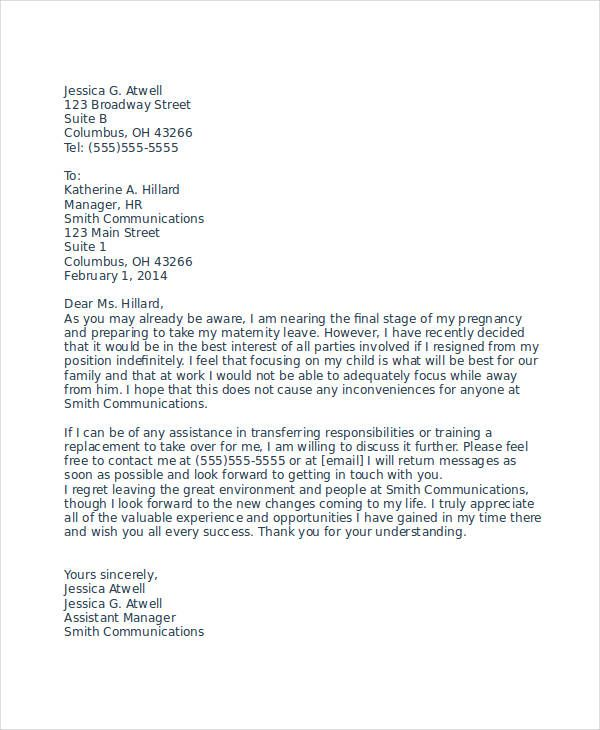 resignation letter due pregnancy template free word pdf - microsoft office resignation letter template