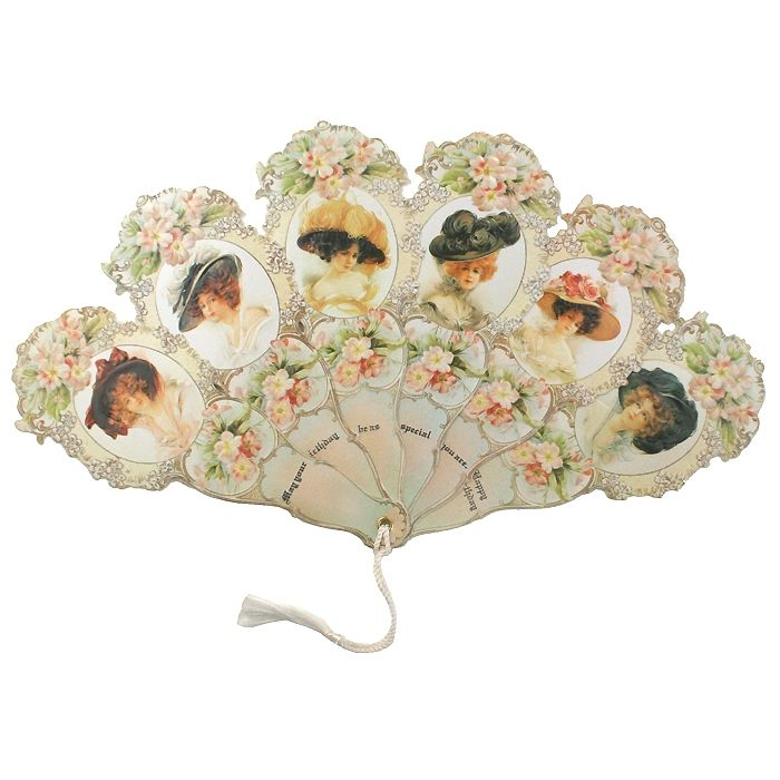 Large Victorian Ladies and Flowers Folding Fan Birthday Card