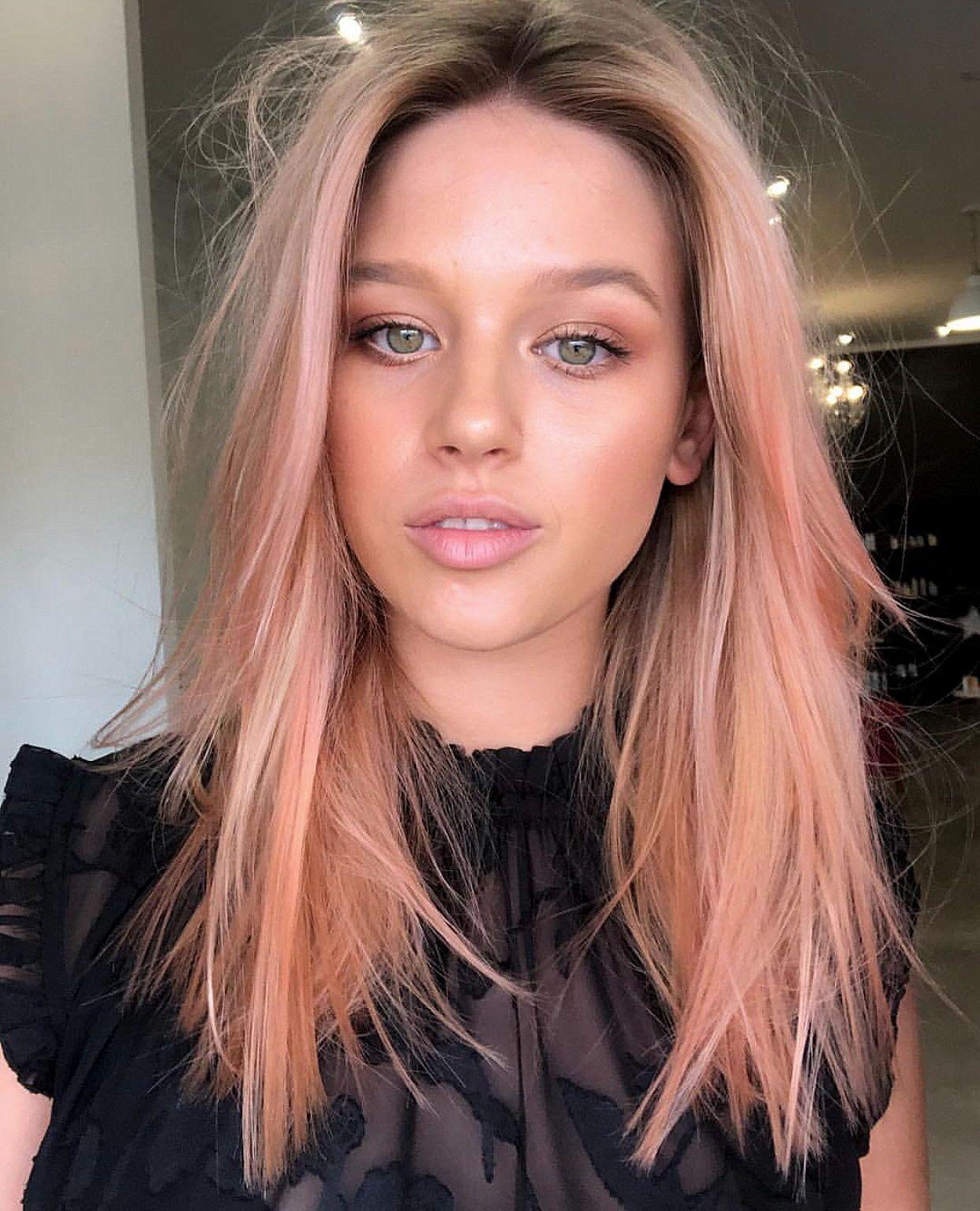 Peach Pink Pastel Hair Color Pinkhair Haircolor Hair Color Pastel Peach Hair Pastel Pink Hair Color