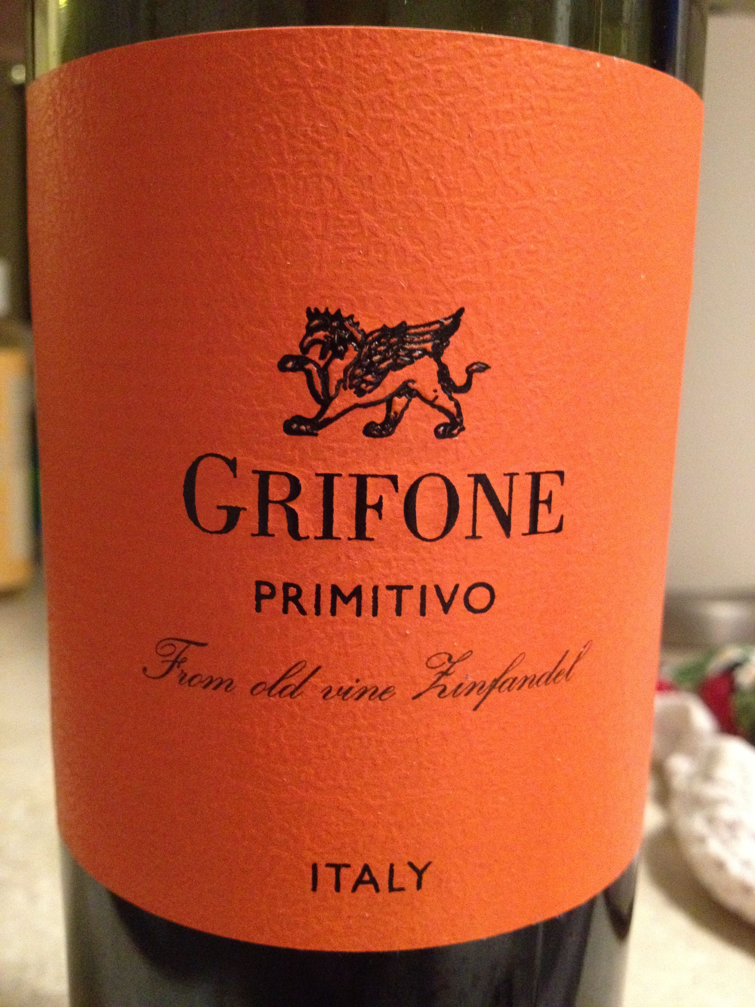 Grifone Primitivo Wine Label Packaging Wine Lovers Wine