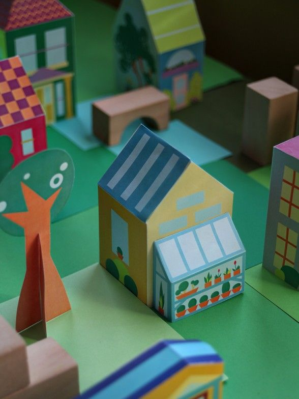 Free Printable Paper Toy House And Make 30 Houses People Cars To Your Own Diy Town Via Smallfor