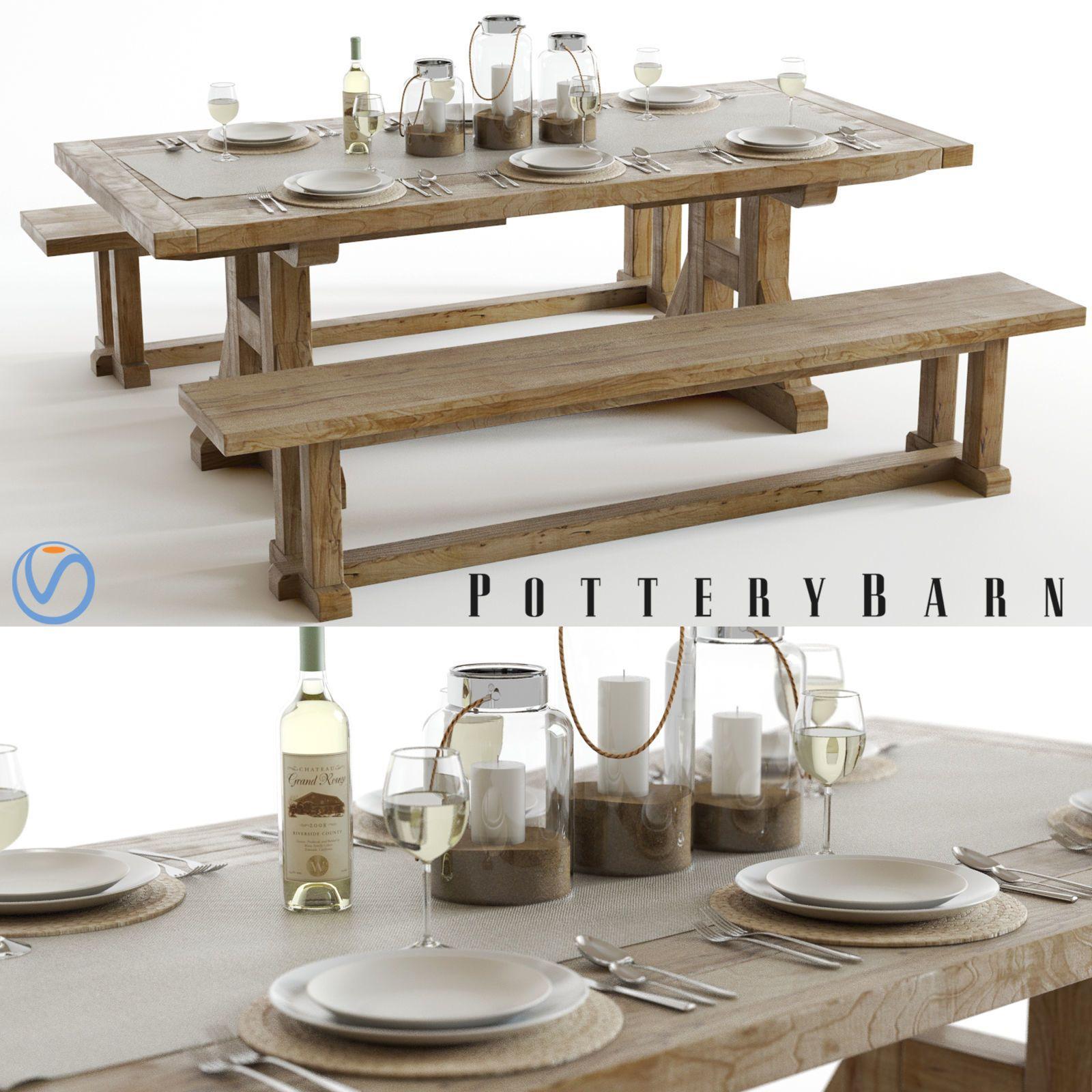 pottery barn stafford dining set 3d model max obj fbx mtl
