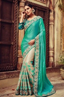 Winsome Teal Green Offwhite Crepe Georgette Jacquard Net Half and Half Designer Saree.