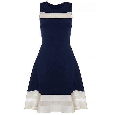 Quiz Navy And Cream Mesh Skater Dress-  d9de766cb