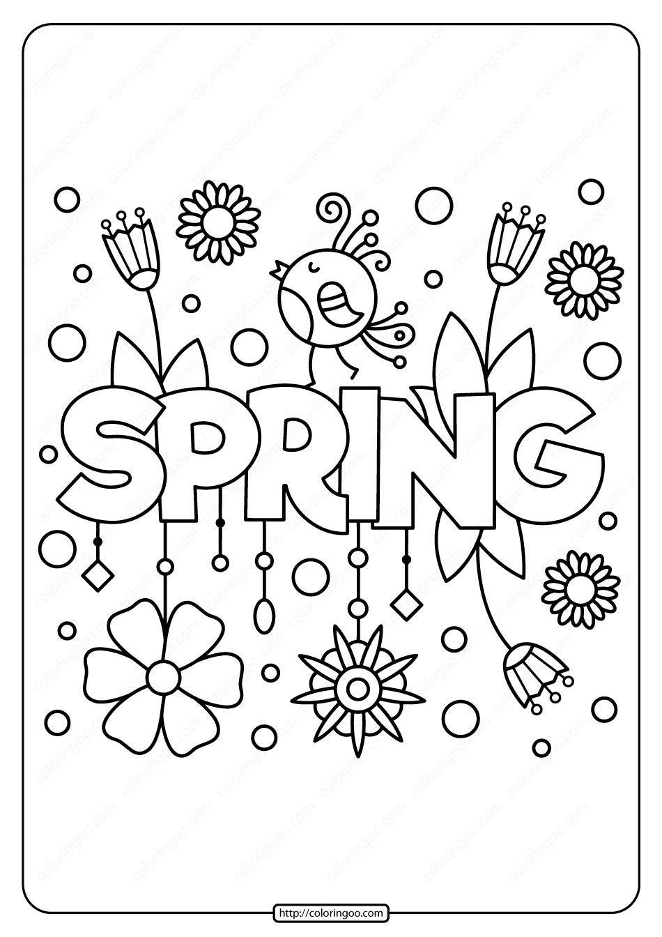 Printable Spring Pdf Coloring Page  Spring coloring sheets