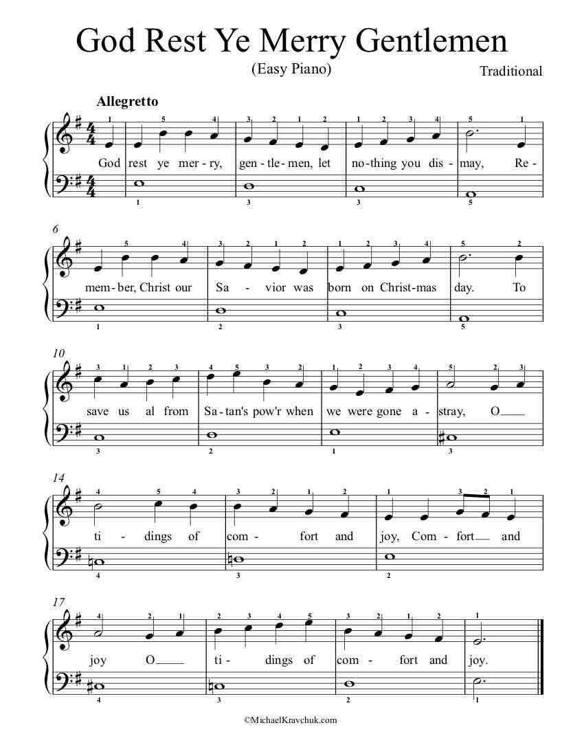 Easy Piano Arrangement Sheet Music God Rest Ye Merry Gentlemen Piano Music Easy Clarinet Sheet Music Clarinet Music