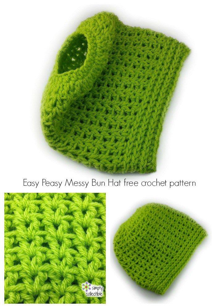 Easy Peasy Messy Bun Hat free crochet pattern | a love for crochet ...
