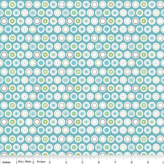 LAMINATED cotton fabric  Blue Dots  Flower Patch by Laminates
