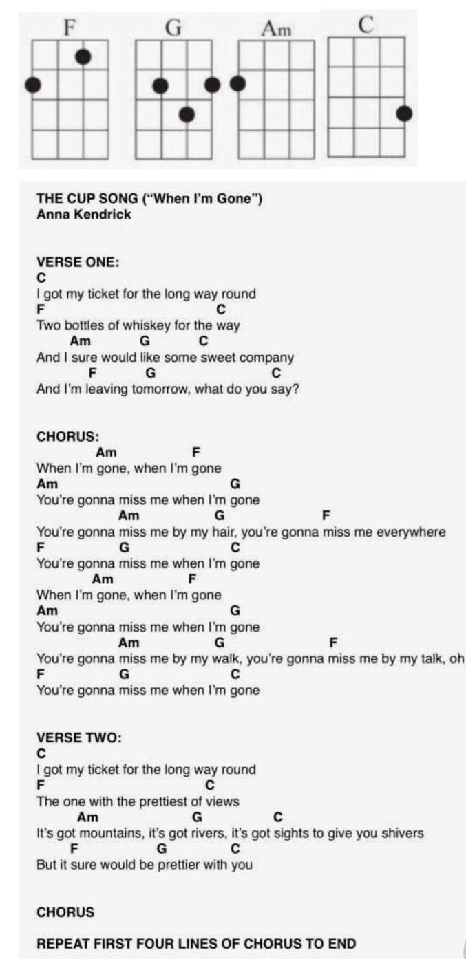 The Cup Song  Anna Kendrick Ukulele song   Ukulele songs, Ukelele ...