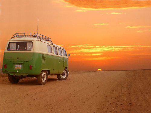 VW bus driving off into the sunset <3