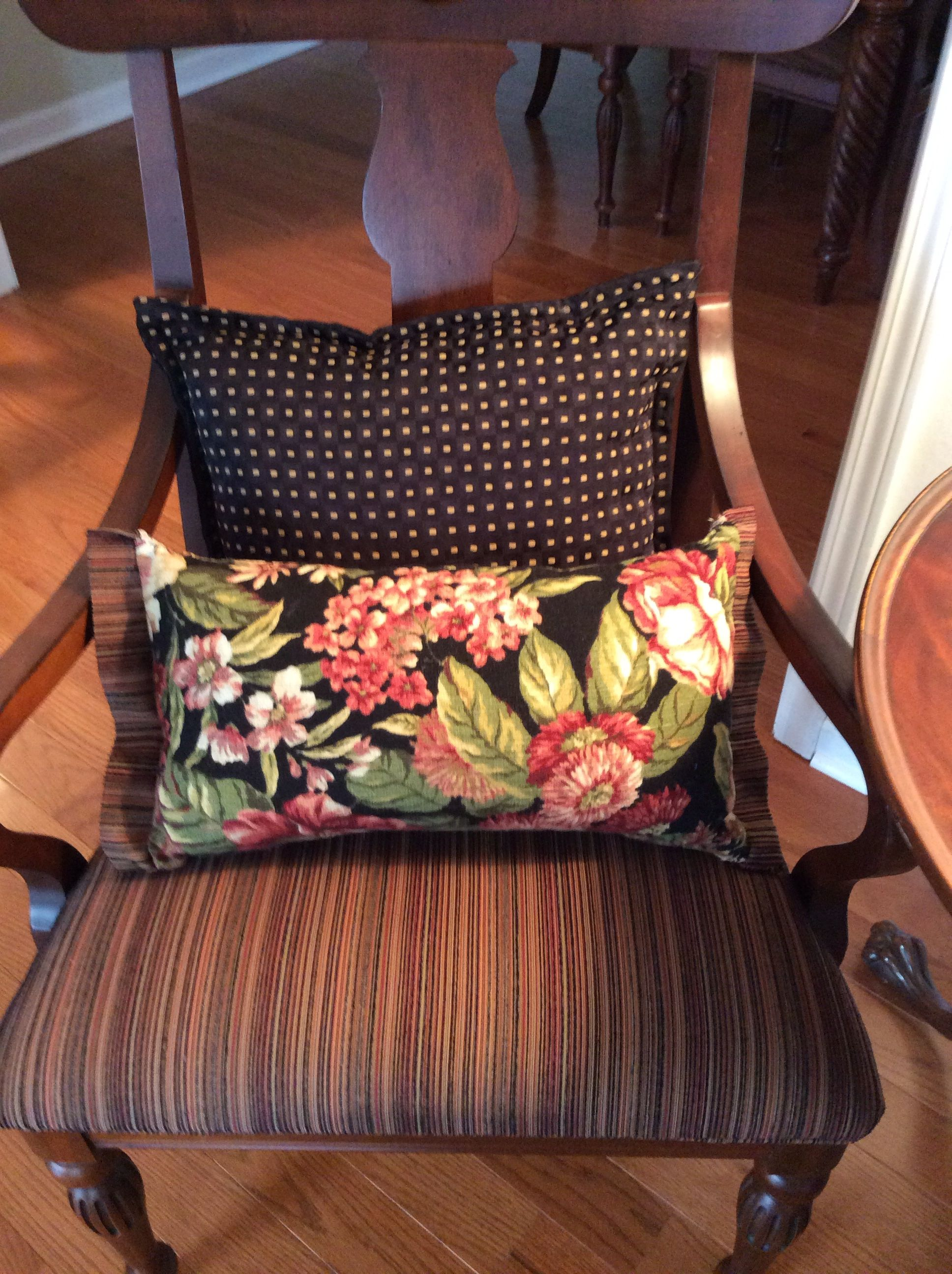 lumbar pillows in contrasting fabrics