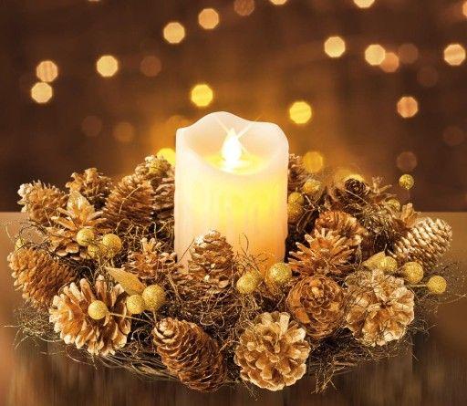 Woskowa Swieca Lampion Led Swiateczny Stroik Zlota 6576898907 Oficjalne Archiwum Allegro Pillar Candles Candles Pillars