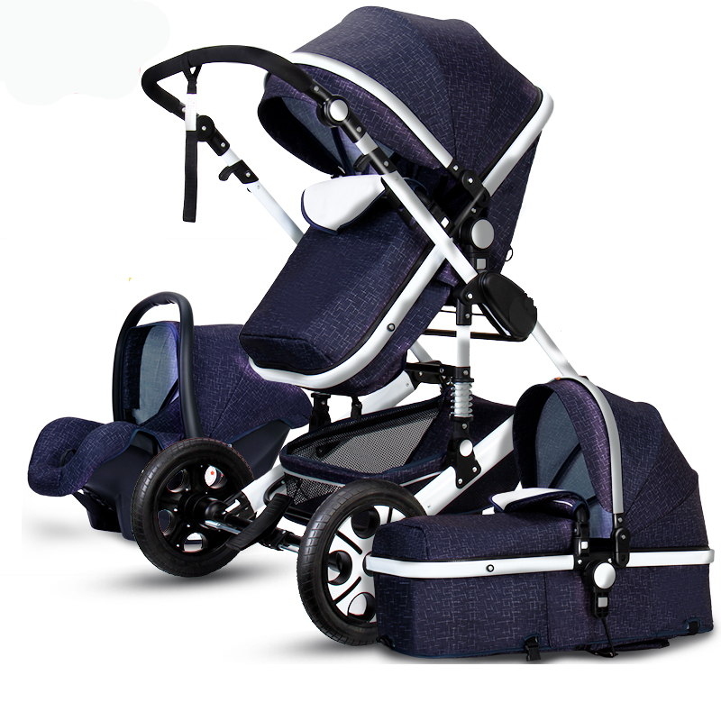 3 in 1 Luxury Foldable Baby Stroller High View Pram Pushchair Bassinet Car