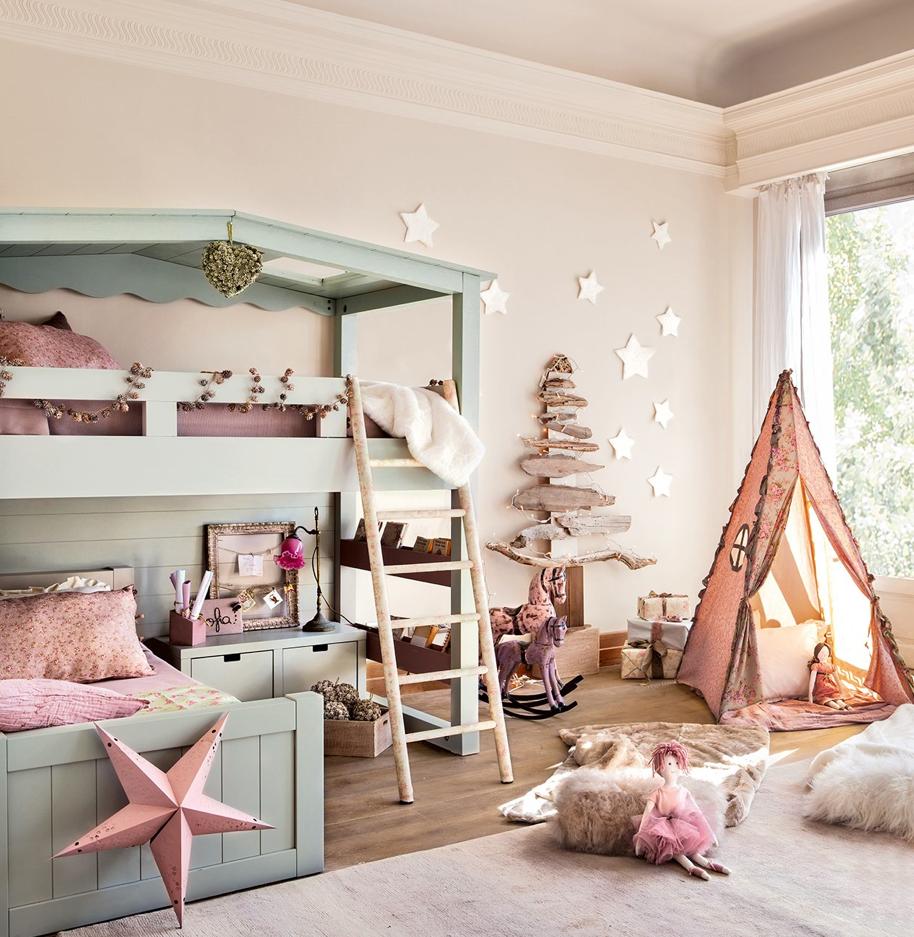 Girls loft bed with slide  CASA TRES CHIC  Elliott Whitney  Pinterest  Kids rooms Room and