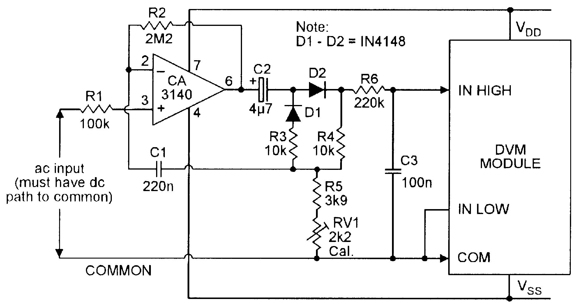 acdc converter circuit diagram electronic circuit diagrams wiring ac dc converter for use with dvm module [ 1995 x 1059 Pixel ]
