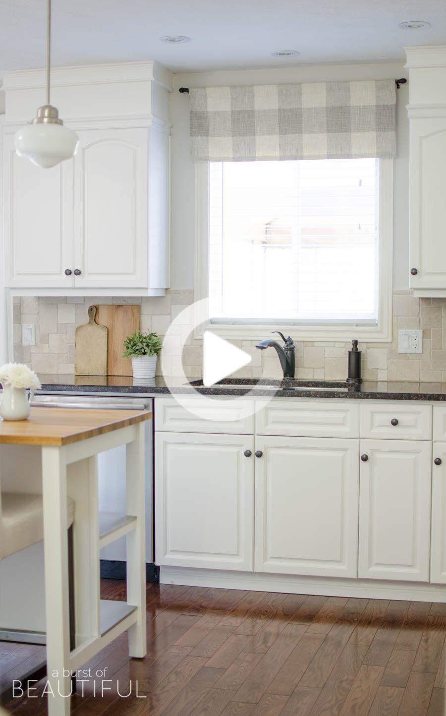 Farmhouse Kitchen Window Valance Tutorial   Rideaux cuisine ...