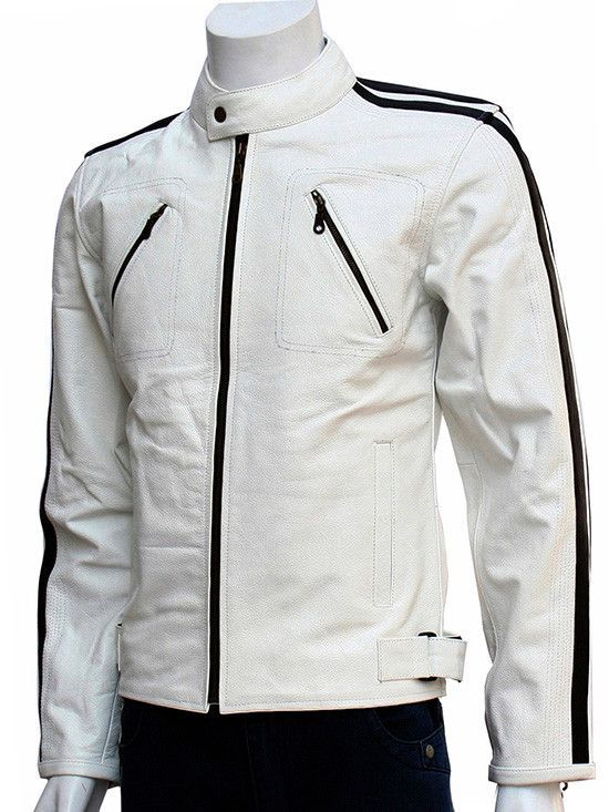 Men's 'RACER' Black With WHITE RACING STRIPE Motorcycle Style Leather Jacket Kleidung & Accessoires