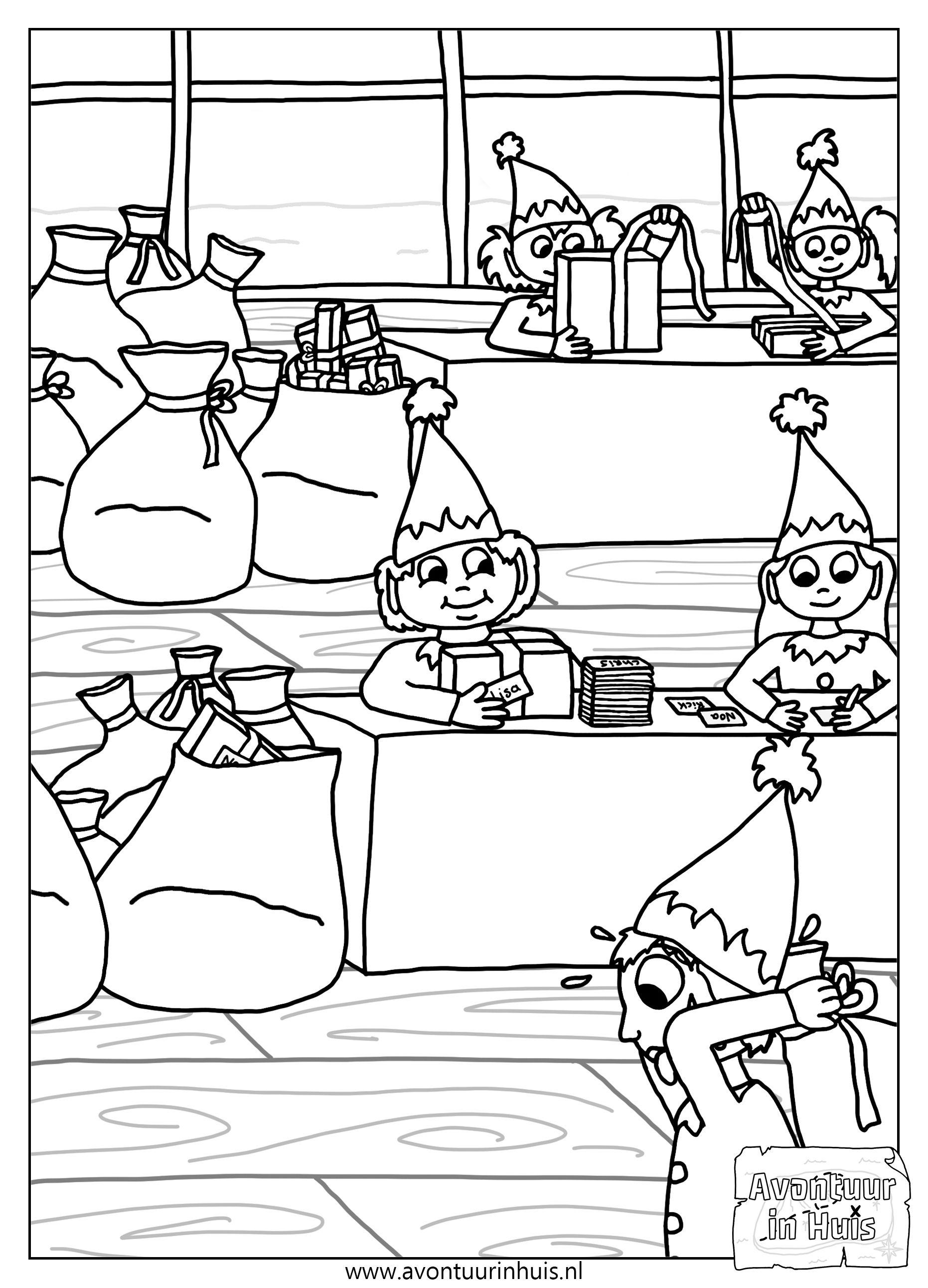 Cadeaufabriek Kerstmis Kleurplaat Kleurplaten Voor Kinderen Kleurplaten Gratis Kleurplaten