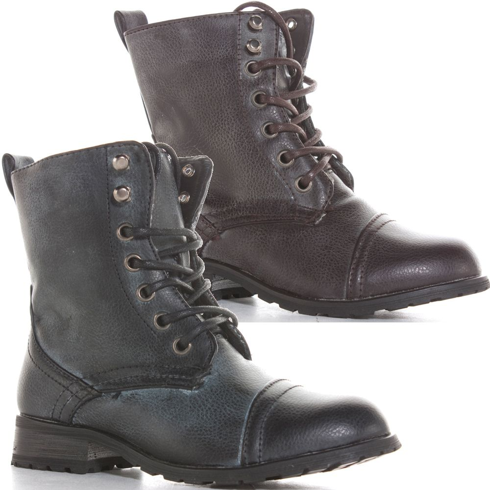 Boys Girls Kids Black Brown Lace Up Military Ankle Boots Size 10 11 12 13 1