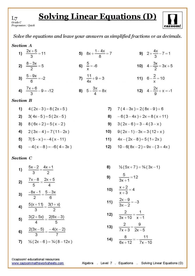ks3 ks4 maths worksheets printable with answers year 7 math pdf al 5 uk  algebra fractions an…   Algebra worksheets [ 1174 x 830 Pixel ]