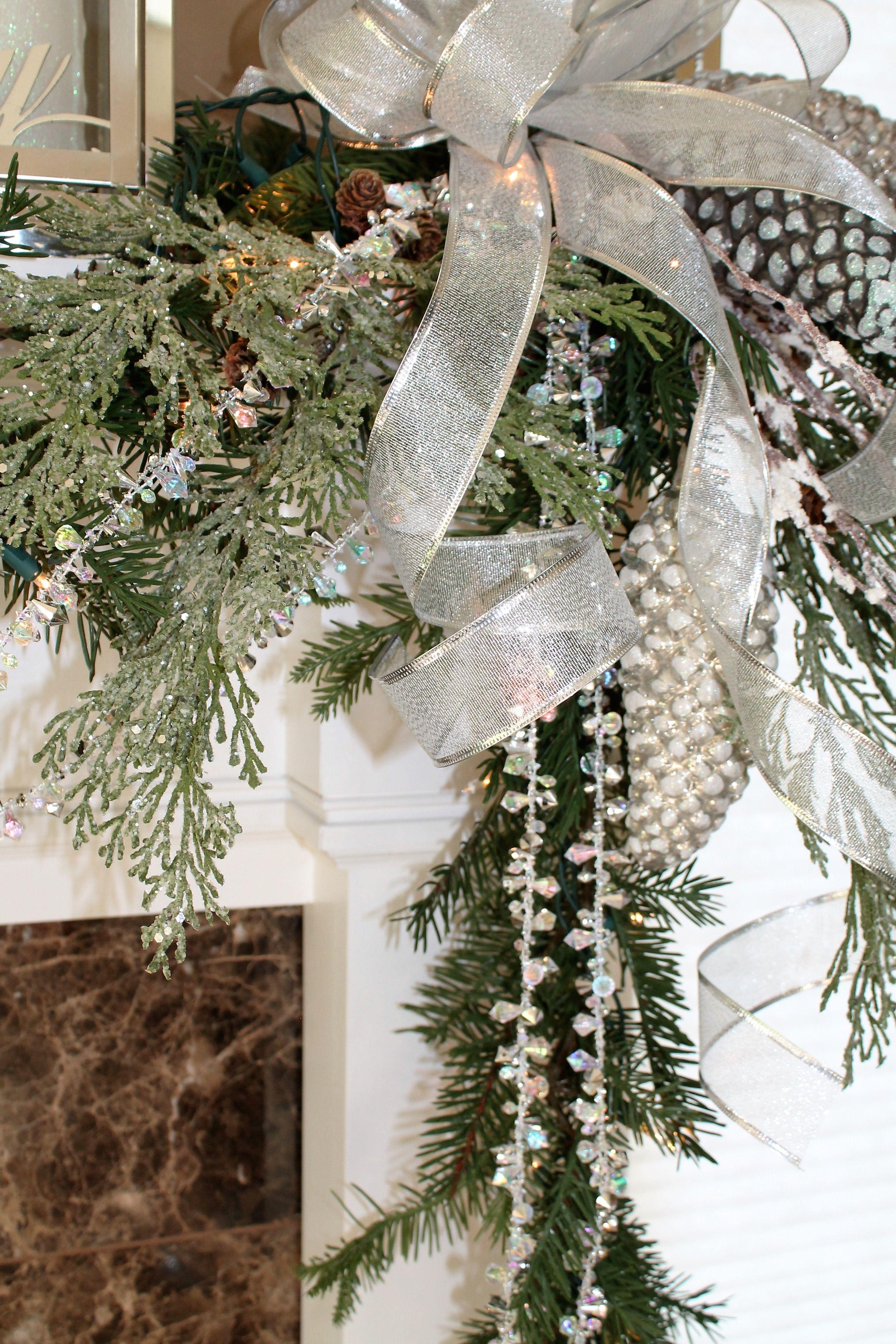 9 Iridescent Silver Bead Garland Christmas Mantel Decorations