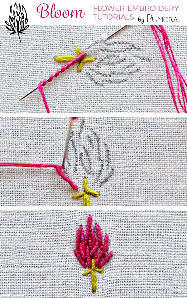 Bullion Stitch Embroidery : bullion, stitch, embroidery, Bullion, Stitch, Clover, Flower, Embroidery, Tutorial, Pumora, About, Tutorial,, Tutorials,, Learn