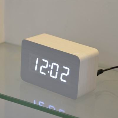 Fibisonic Wooden Alarm Clocks With Thermometer Sound Control Wood