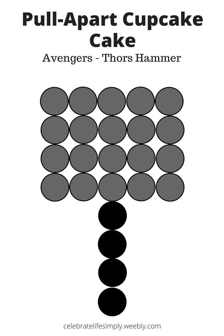 Avengers - Thor\'s Hammer Pull-Apart Cupcake Cake Template   Cupcake ...