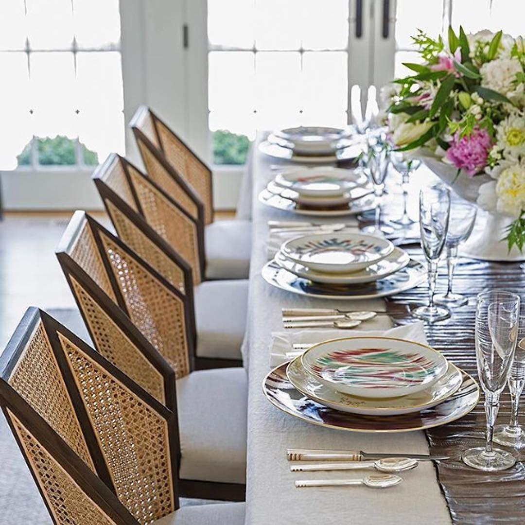 Kara Mann Design Cane Dining Chairs For Milling Road   Baker Furniture