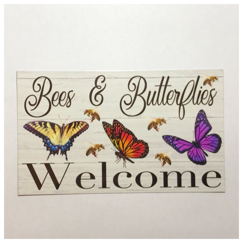 Tin Wall Plaques Bees & Butterflies Welcome Sign Gardening Tin Wall Plaque Or