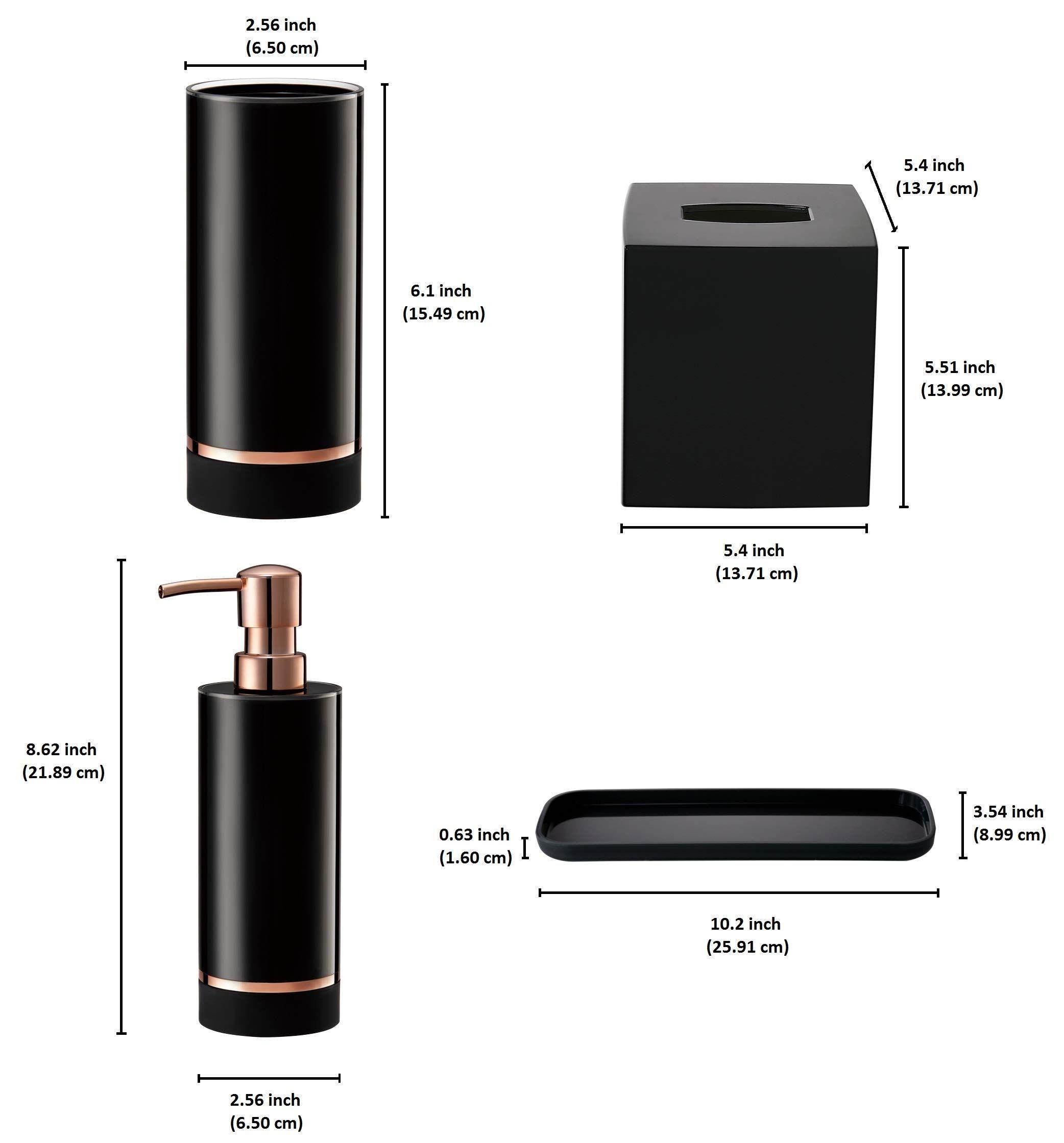 Decozen Set Of 4 Pcs Bathroom Accessories Set In Black Bright Rose Gold Strip Accent Cyli Bathroom Decor Accessories Bathroom Accessories Sets Lotion Dispenser
