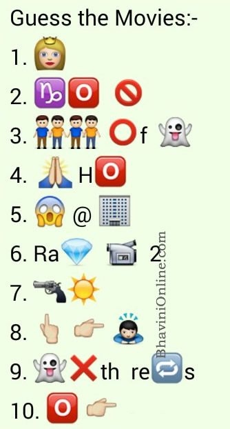 Whatsapp Puzzles Guess These Latest Movie Names From Emoticons And Smileys Movie Quiz Guess The Movie Emoji Quiz