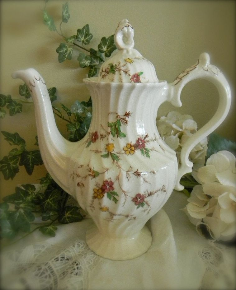Vintage Brown Transferware Coffee Pot Tea Pot Shabby Chic