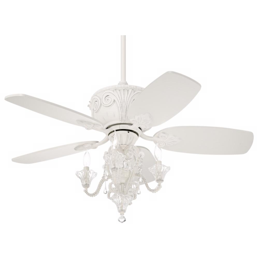 "White Chandelier Ceiling Fan: 52"" Casa Deville Antique White Ceiling Fan With Light"