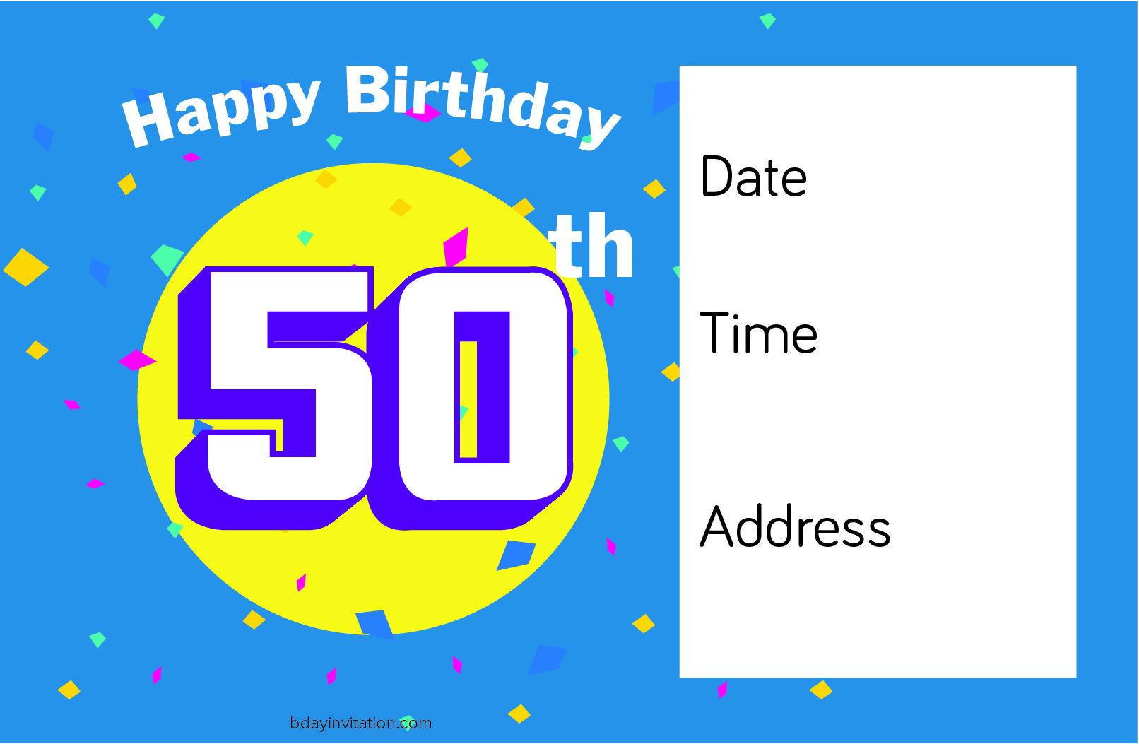 Nice FREE Printable 50th Birthday Invitation Template | FREE ...