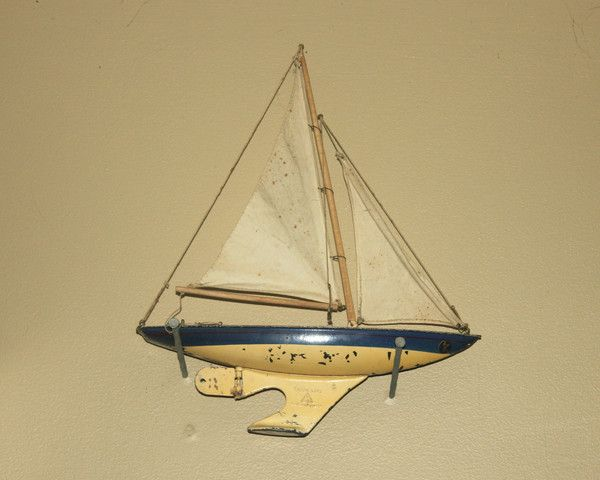 Vintage Tri-Ang English Sail Boat, Industrial, Home Office Decor, Anti – Antique Alchemy