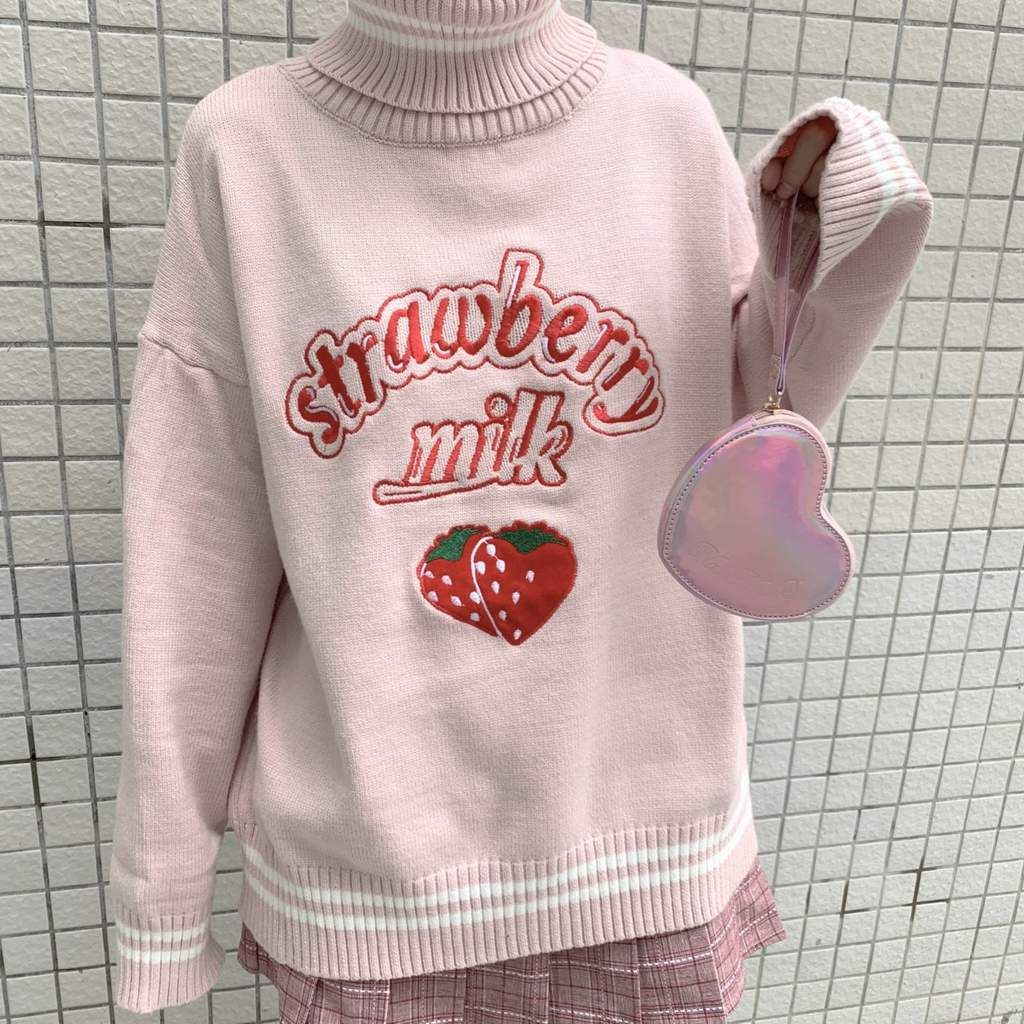 401a5232c1f STRAWBERRY MILK PATTERN HIGH TURTLE NECK PINK KNITTED SWEATER ...