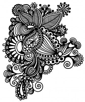 Hand Draw Line Art Ornate Flower Design Ukrainian Traditional Style