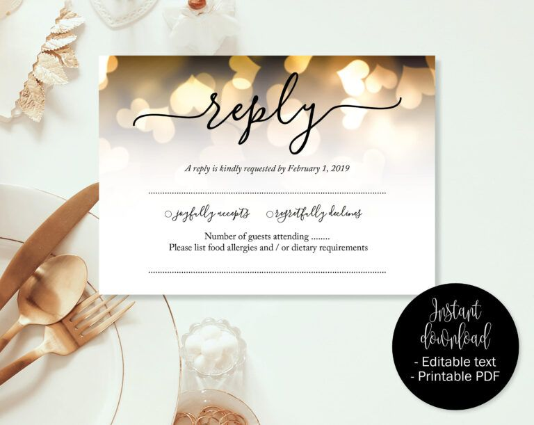 Gold Hearts Wedding Rsvp Cards Wedding Reply Attendance Acceptance Cards Rsvp Template Printable Editable Wedding Rsvp Wedding Cards Wedding Rsvp Rsvp Card