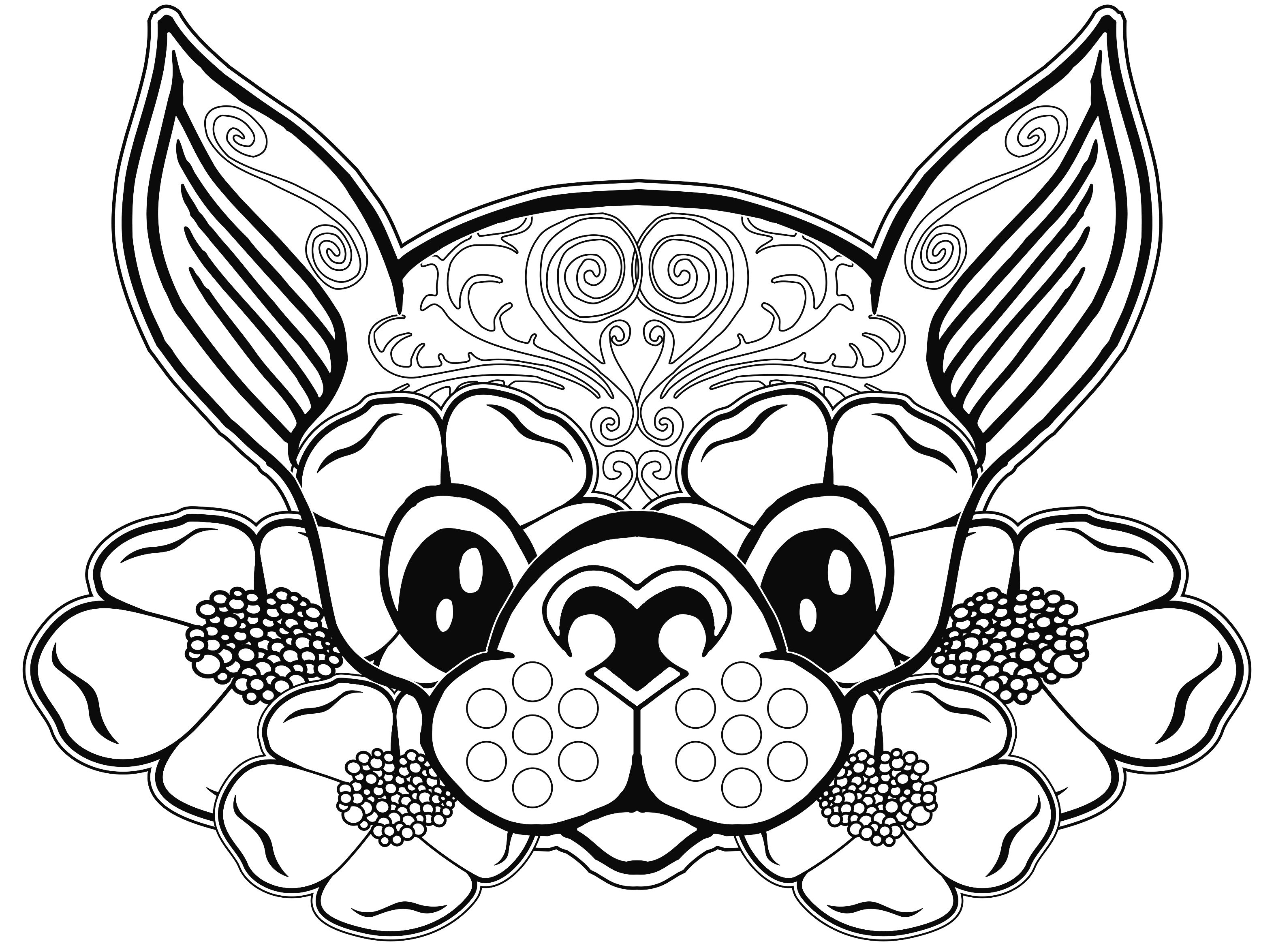 Dog Coloring Page Pages Free For Adults Sugar Skull