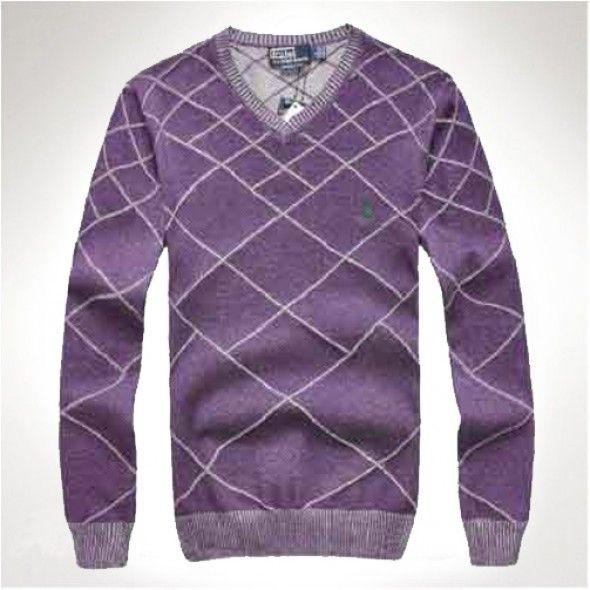 Ralph Lauren Men Grid V neck Soft Sweaters Purple http://www.ralph
