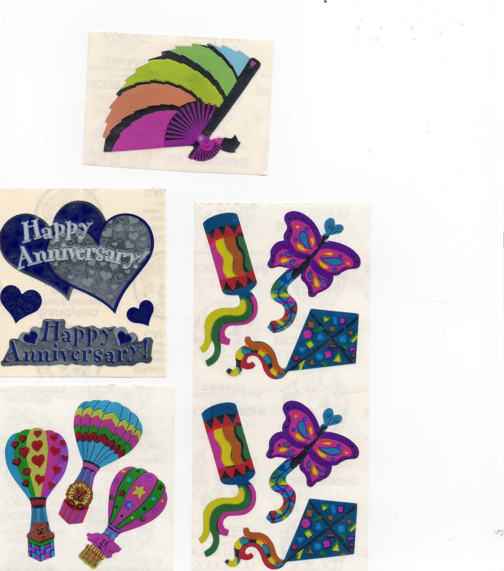 Sandylion OPAL KITES 1 Square Vintage Opal Colorful Kites Stickers