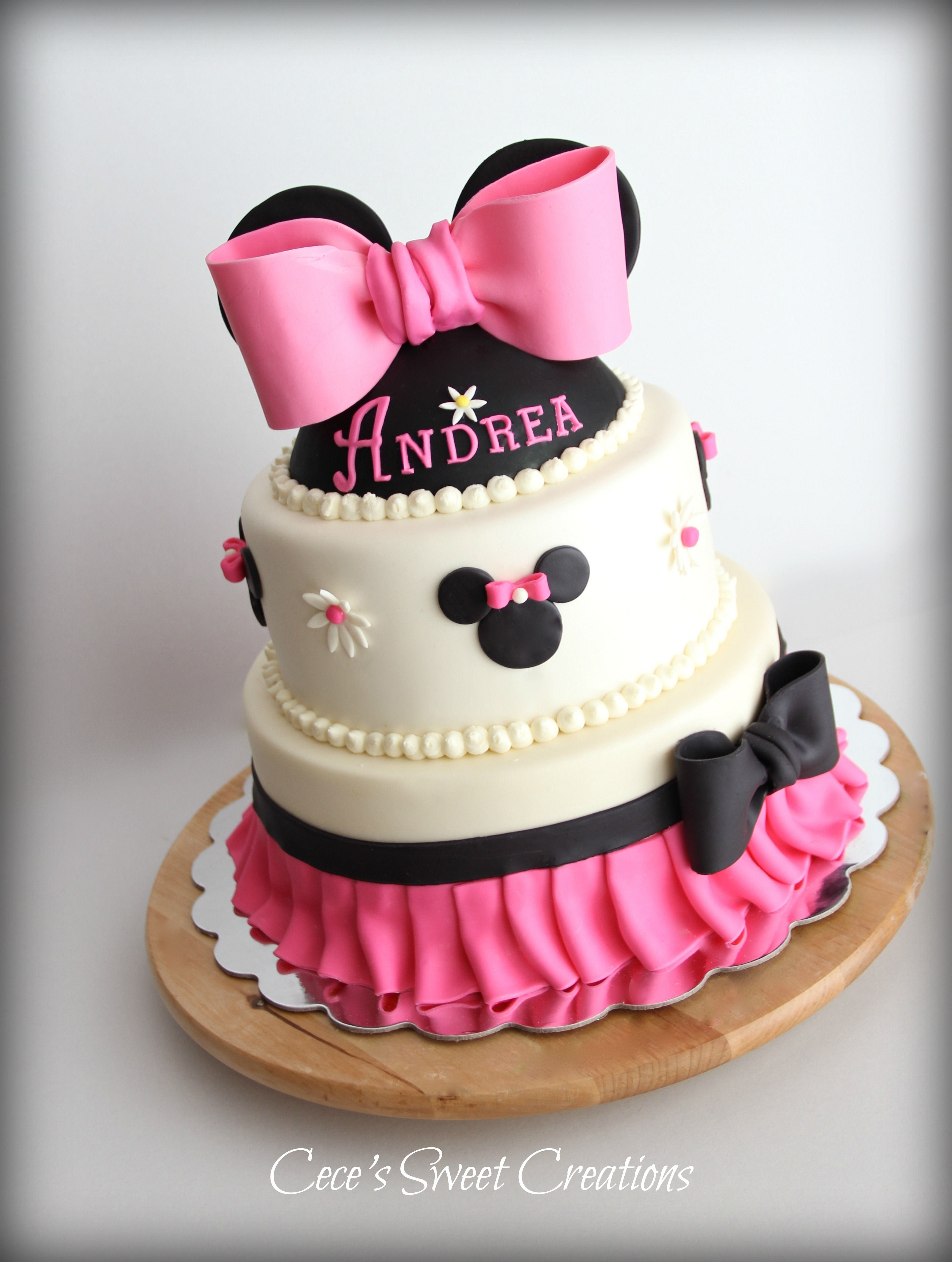 Minnie Mouse Birthday Cake All is edible Inspired by the many beautiful creations of