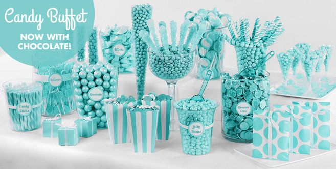 Robins Egg Blue Candy Buffet Supplies Robins Egg Blue Candy Containers Party City