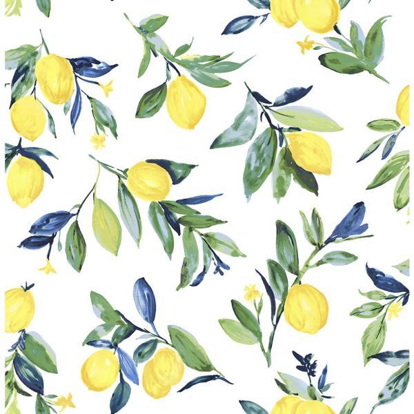 Nuwallpaper 30 75 Sq Ft Lemon Drop Yellow Peel And Stick Wallpaper Nus3161 The Home Depot Nuwallpaper Peel And Stick Wallpaper Brewster Wallpaper