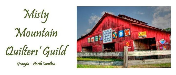 Logo for Misty Mountain Quilters Guild. I am in love with this barn!!!!