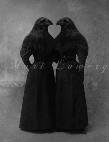 Altered Antique Portrait - Crow Girls